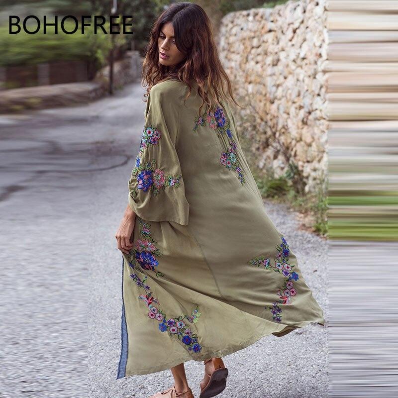 Bohofree outono outerwear longo quimono bordado floral maxi hippie biquini cardigans feminino vestido de jaqueta fina boho kimonos vestido