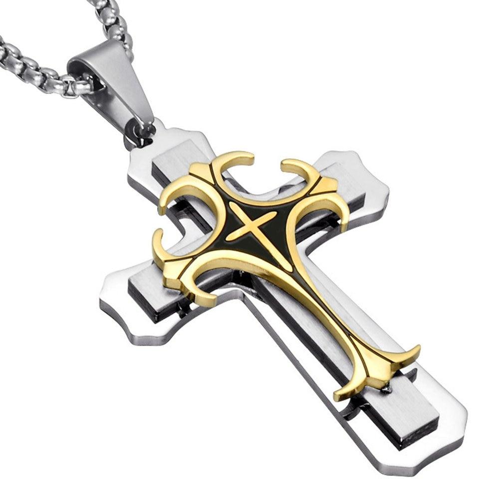 Classic Men's 3 Layer Titanium Steel Cross Pendant not including Necklace Chain Romantic Male Jewelry Accessories