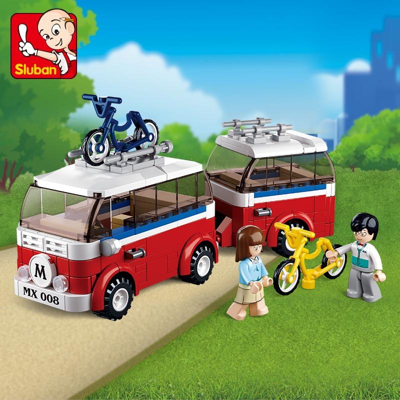 Sluban Building Block City Town Banya & Lemey's Camper 324pcs Educational Bricks Toy Boy Gift - No Retail Box