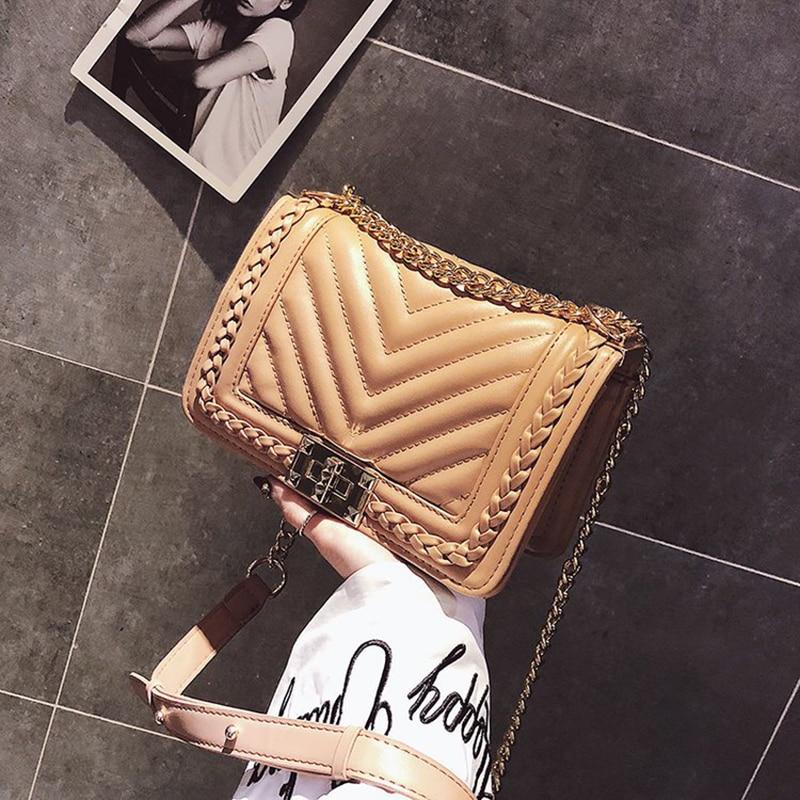 SGARR Small Women PU Leather Messenger Bags High Quality New Fashion Ladies Chain Crossbody Bag Casual Female Woven Shoulder Bag