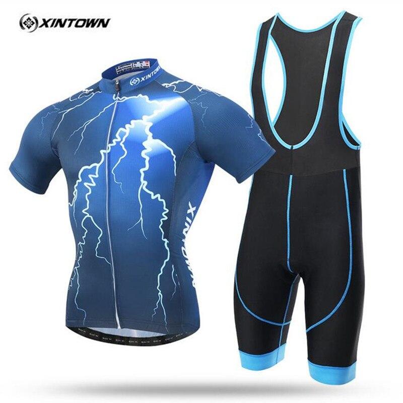 Xintown 2017 novo padrão relâmpago cheji bicicleta roupas bicicleta ciclismo desgaste para o homem camisa de manga curta/homens ciclismo roupas