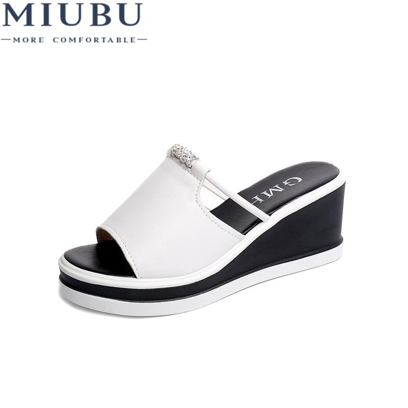 MIUBU Women Slipper Sandals Heels Wedges Platform Leather Peep Toe Crystal Elegant Female Sandals Mules Clogs Summer Shoes