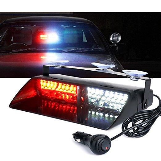 Newest 16 LED 48W VIPER S2 Car Truck Emergency Police Strobe Flash windshield Warning Light Amber Red Blue Flashing Led 12V