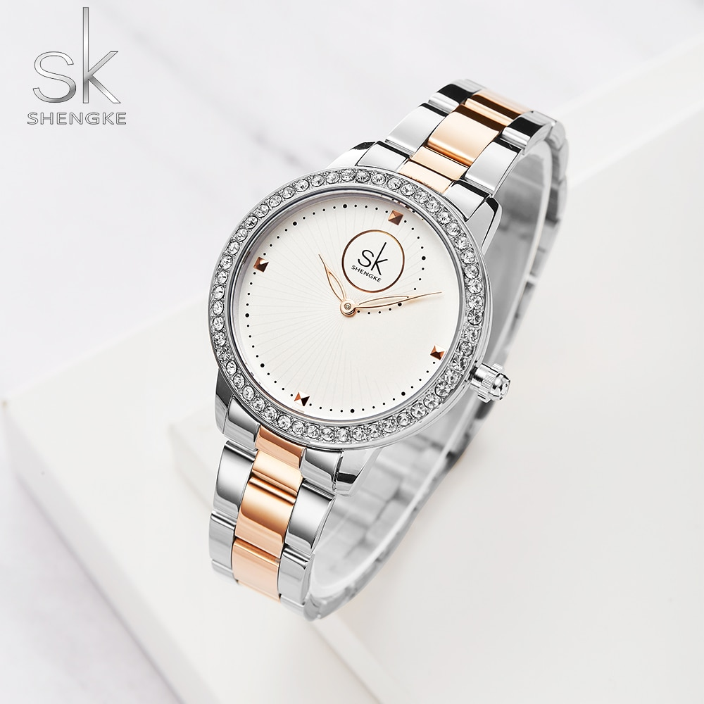 Shengke Watches Women Luxury Ladies Watch Luxury Diamond Quartz RoseGold Wrist Watch Reloj Mujer Montre Femme enlarge