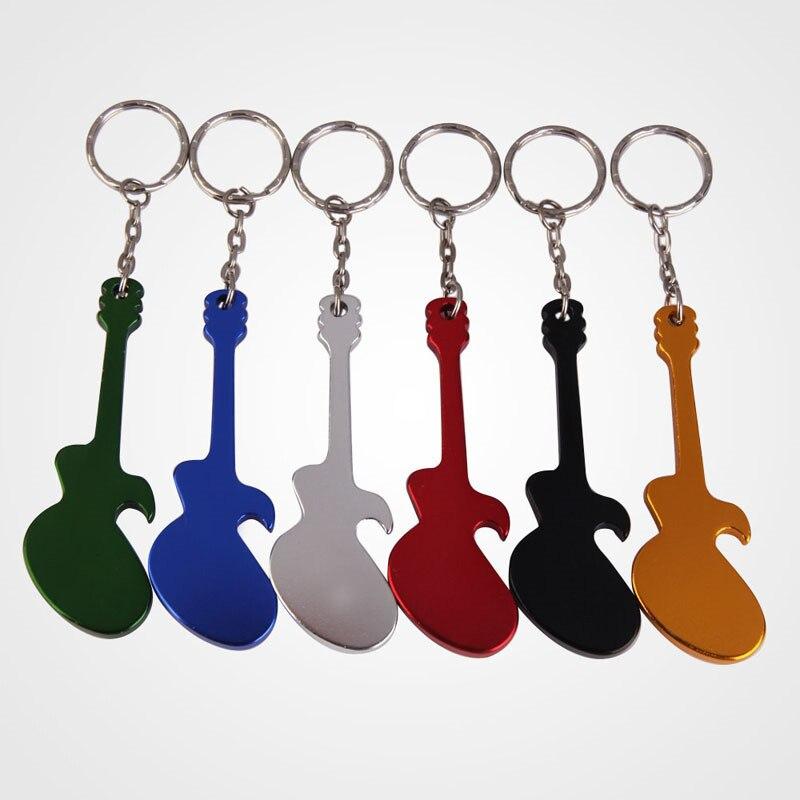1Pcs Multifunction Creative Outdoor EDC Guitar Shaped Beer Opener Aluminum Alloy Bottle Opener Keychains Handy