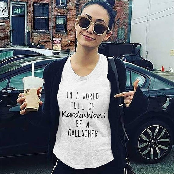 Hayuyule inspirado Unisex camiseta en un mundo lleno de Kardashians Be A Gallagher citas impresas Tee Casual blanco Tops