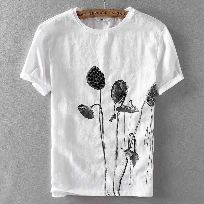 Estilo chinês linho curto-de mangas compridas t-shirt dos homens de verão bordado lazer moda camisa dos homens t de linho respirável ocasional dos homens do tshirt