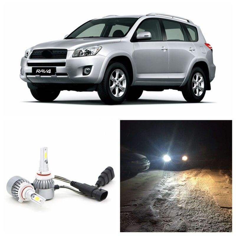 Edislight alta potência par 72 w 7600lm led farol kit branco carro luz baixo feixe lâmpadas para 2006-2012 toyota rav4 farol 6000 k