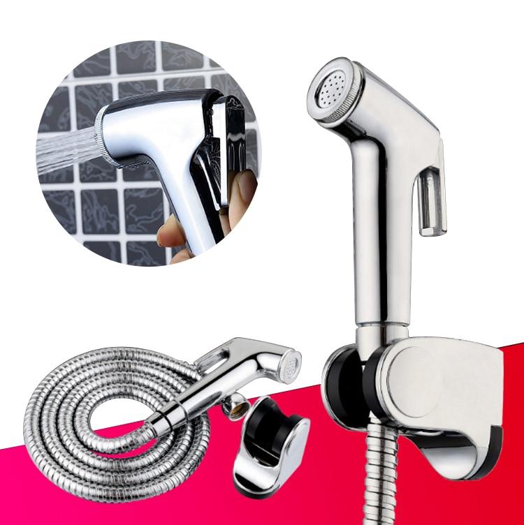Grifo de bidé de baño con dos funciones y adaptador T de latón con adaptador de 1,2 m para manguera y soporte enganchado fácil de instalar