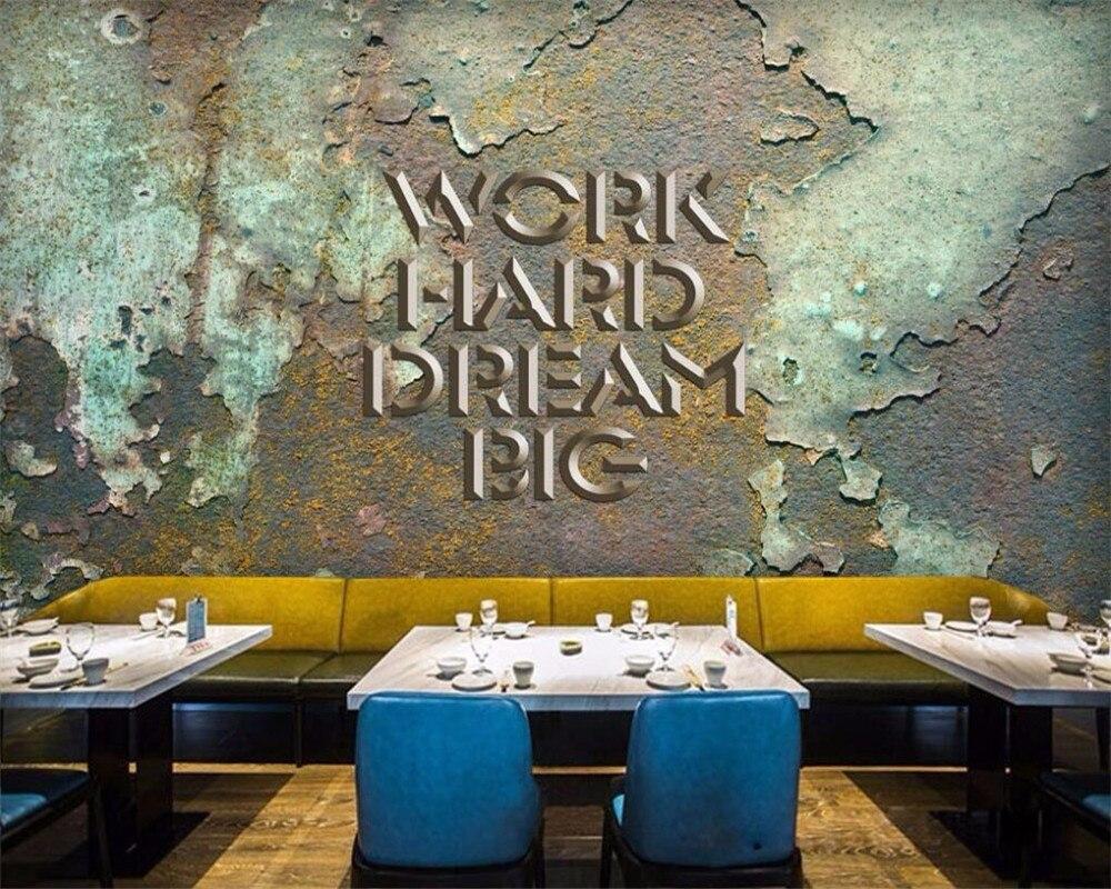 Papel pintado de decoración de fondo para paredes 3 d behang estilo retro industrial de la tienda de café de los Estados Unidos y Europa
