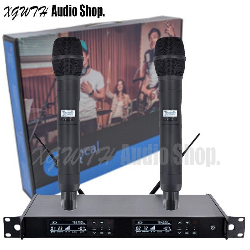 Sistema de micrófono Inalámbrico UHF con micrófono UR24D Karaoke 2 micrófono cardioide dinámico de mano profesional