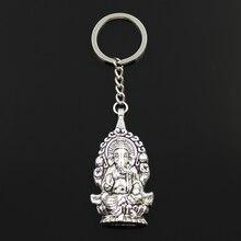 Модное кольцо для ключей 30 мм, металлическая цепочка для ключей, ювелирное изделие, античная бронза, серебряный цвет, Ганеша, Будда, слон, 62x32 ...