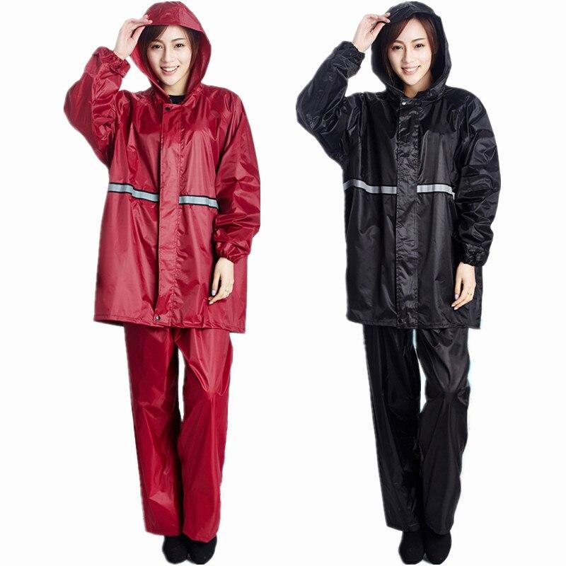 New top quality Raincoat Women/Men Jacket Pants Set Adult Rain Poncho Thick Police Rain Gear Motorcycle Rainsuit