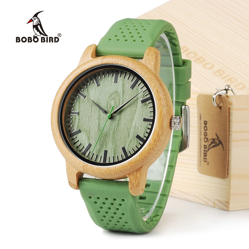 BOBO BIRD Bamboo Men Watch Casual Women Quartz Clock Silicone Band reloj mujer marca famosa