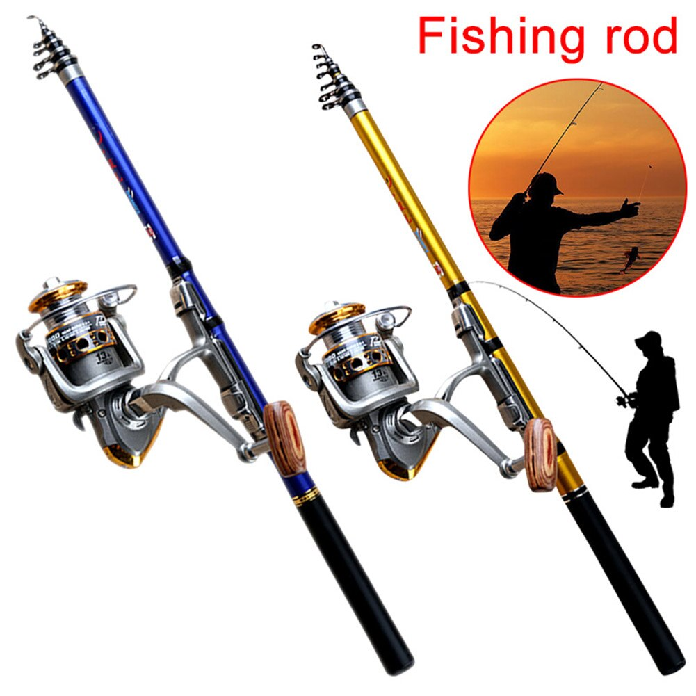 Portable Sea Fishing Rod Pole Carbon Fiber 1.8/2.1/2.4/2.7/3.0m Telescopic Spinning Reel Fish Tackle enlarge