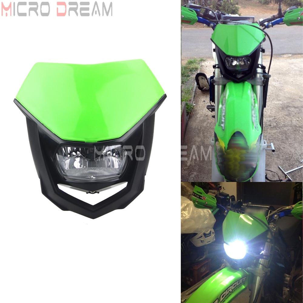 Grün Motocross Scheinwerfer 12v/35w Dirt Bike Universal Scheinwerfer für Suzuki Yamaha Kawasaki KXF KLX KLR KX 85 125 140 250 450 650