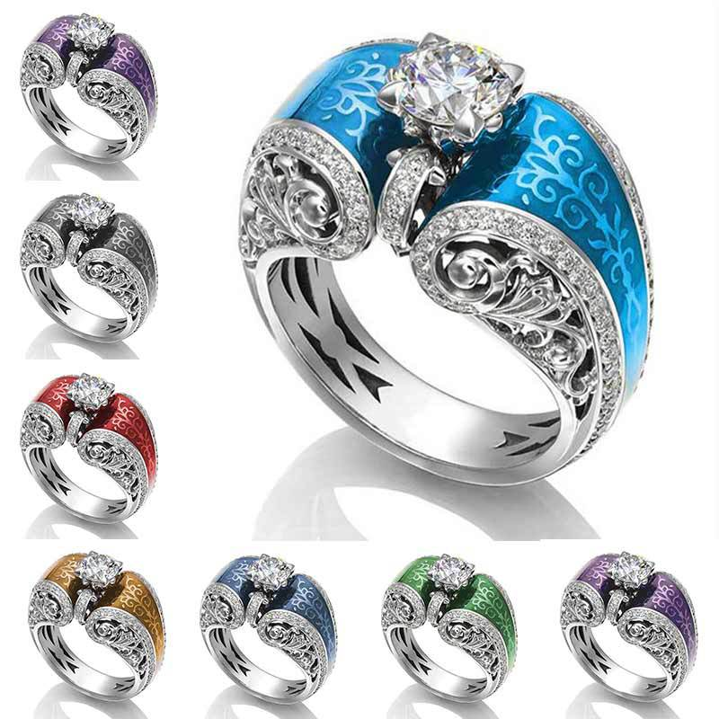 Huitan Vintage diseño de cordel ahuecado siete colores disponibles anillo de dedo creativo claro circón cúbico clavija ajuste Accesorios