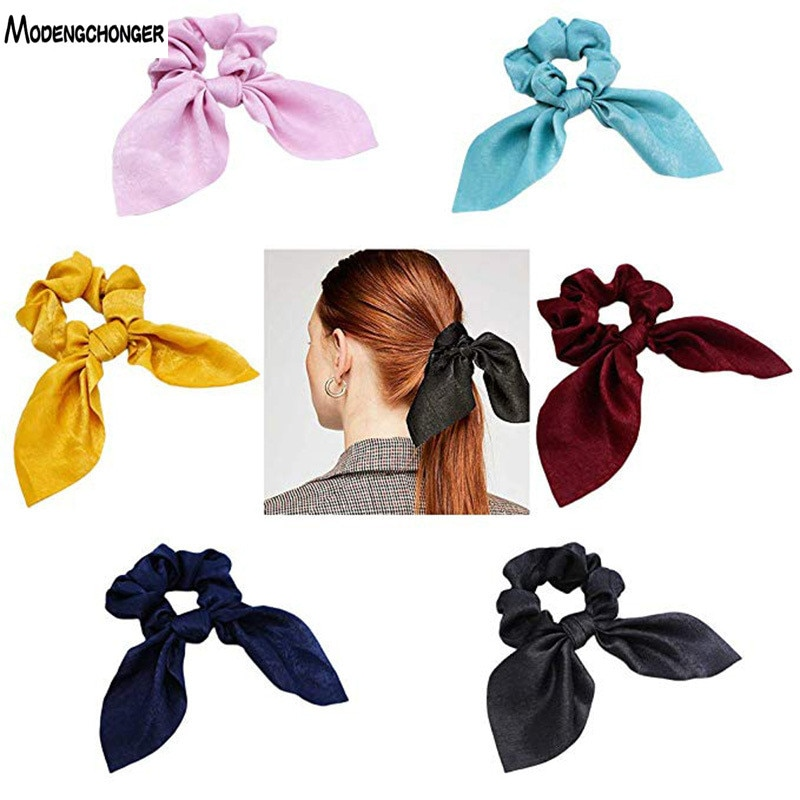 Pure Color Elastic Hair Band Rabbit Ear Bow Pearl Rope Satin Ponytail Scrunchie Tie Girls Women Gum Accessories