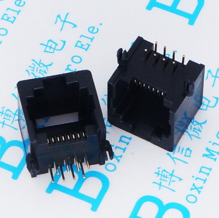 60 uds RJ11 hembra 8P8C RJ45 toma de teléfono con entrada hembra negro 8-núcleo cabeza de cristal de la cabeza
