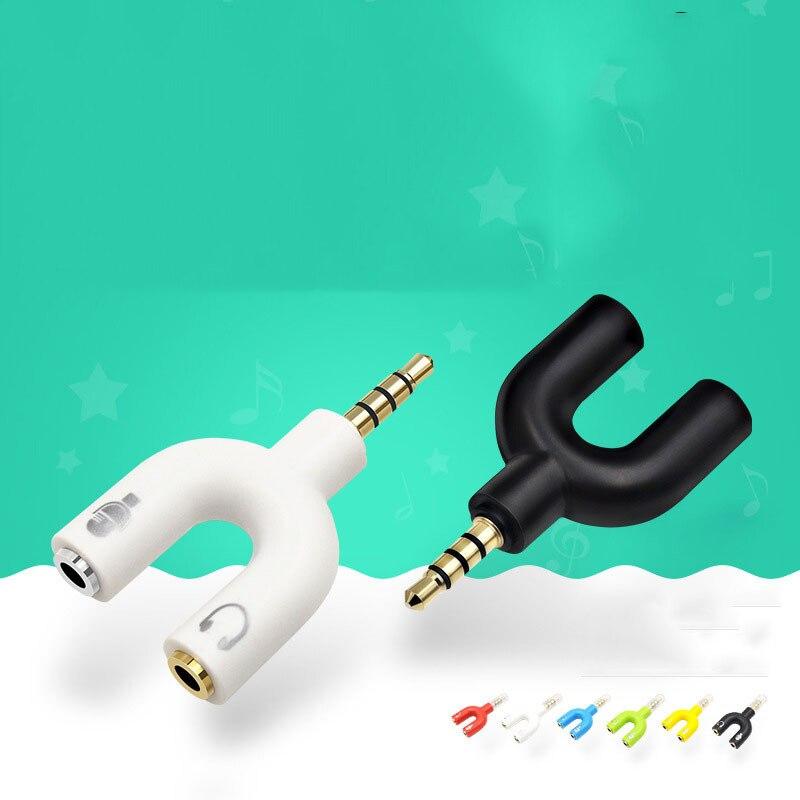 U Tipo de Adaptador Duplo 3.5 MILÍMETROS Fone De Ouvido Plug Cabos de Áudio Splitter Microfone 2 em 1 Conector Giratório