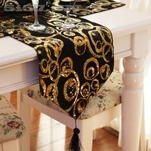 30*200cm noir et or cercle Sequin chemin de Table coureur dîner tapis Dec maison textile polyester gros FG61