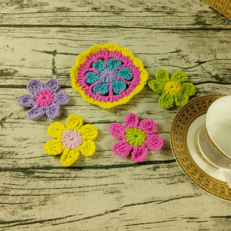 Original Handmade Crochet Round Flowers Coaster Multicolor Crochet Doilies Table Cup Mats 8-12cm Wool Clothes Patch 20pcs/lot