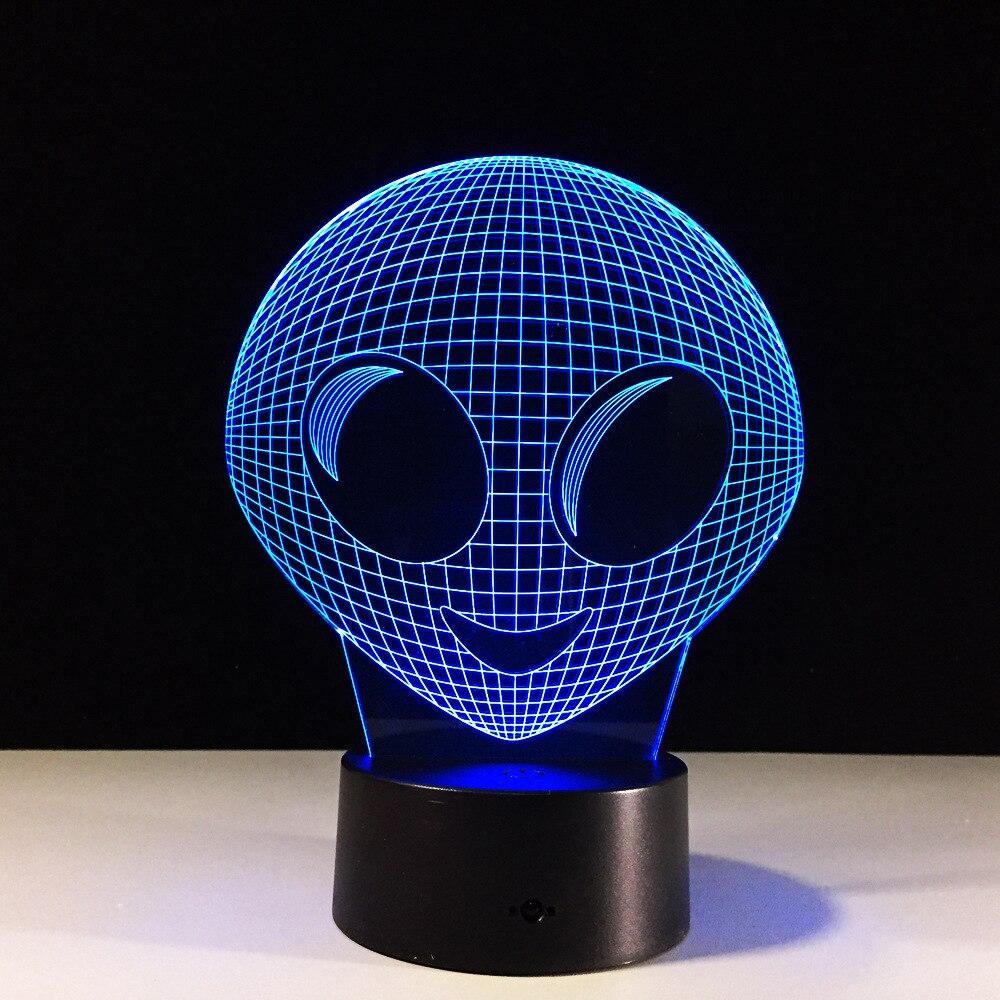 Aliens 3D novedad luz nocturna 7 colores cambiante USB LED 3D lámpara...