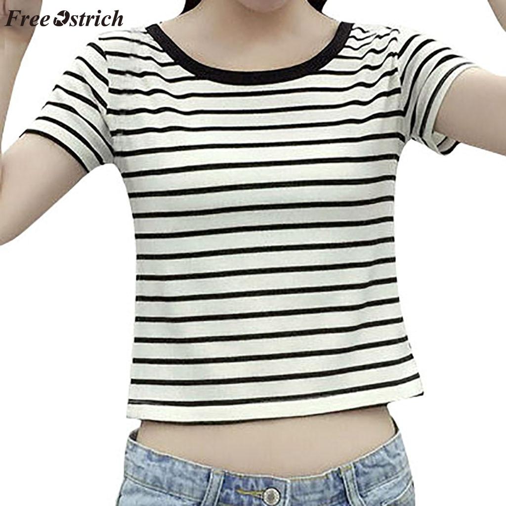 Livre avestruz moda feminina listrado arco cor nu camiseta em torno do pescoço de manga curta listrado curto parágrafo barriga botão camiseta