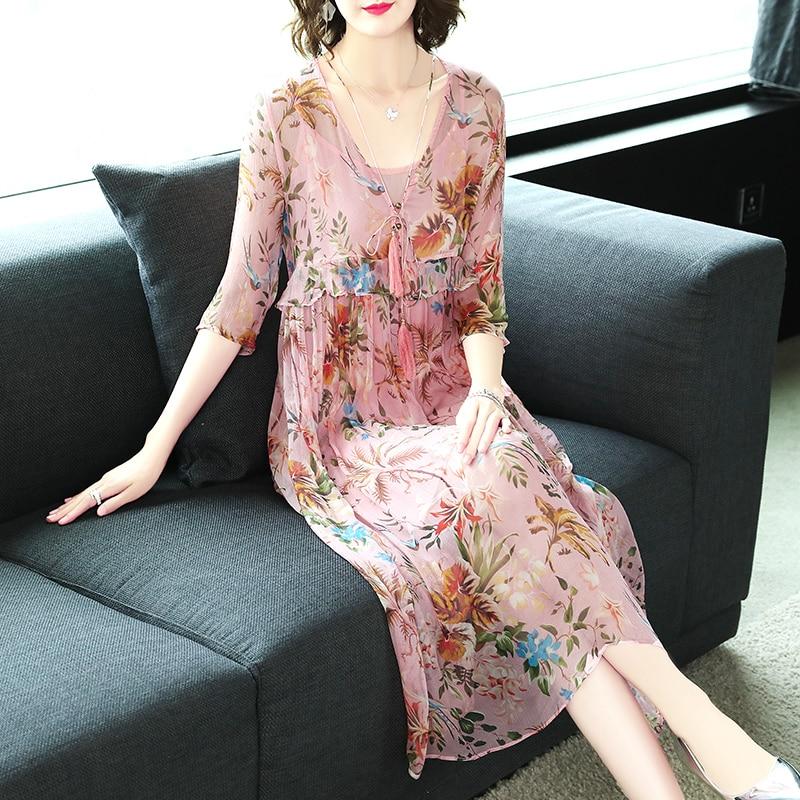 Olddnew Summer New 2019 Women Sweet Floral Print Midi Silk Dress Vintage V-Neck Bow A-Line Dresses Pink  Vestidos Feminina