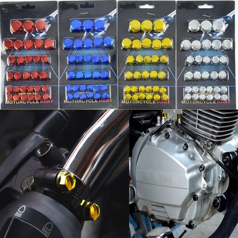 30 unids/set cromado Plasti motocicleta tornillo tuerca cubierta tapa tuerca perno decoración para Yamaha Kawasaki Honda