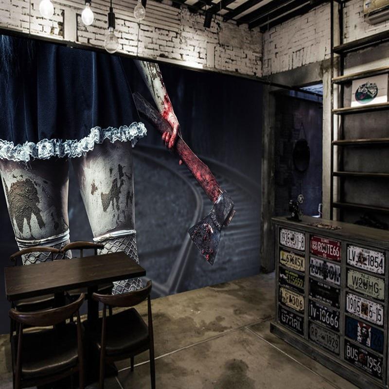 photo wallpaper 3D horror mural HD horror hawk house theme space wallpaper KTV background wall mural