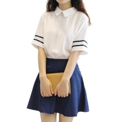 Uniforme Escolar de Japón de Corea del Sur, camiseta de manga corta con cuello vuelto y falda, uniforme de marinero de Estilo marinero Británico, uniforme para estudiante