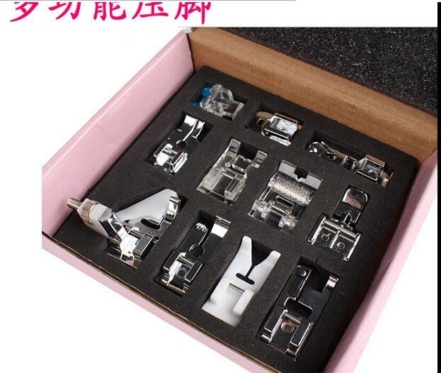 11 unids/lote falt prensatelas para máquina de coser doméstica 505A accesorios coser cremallera invisible vinculante prensador pies 1188