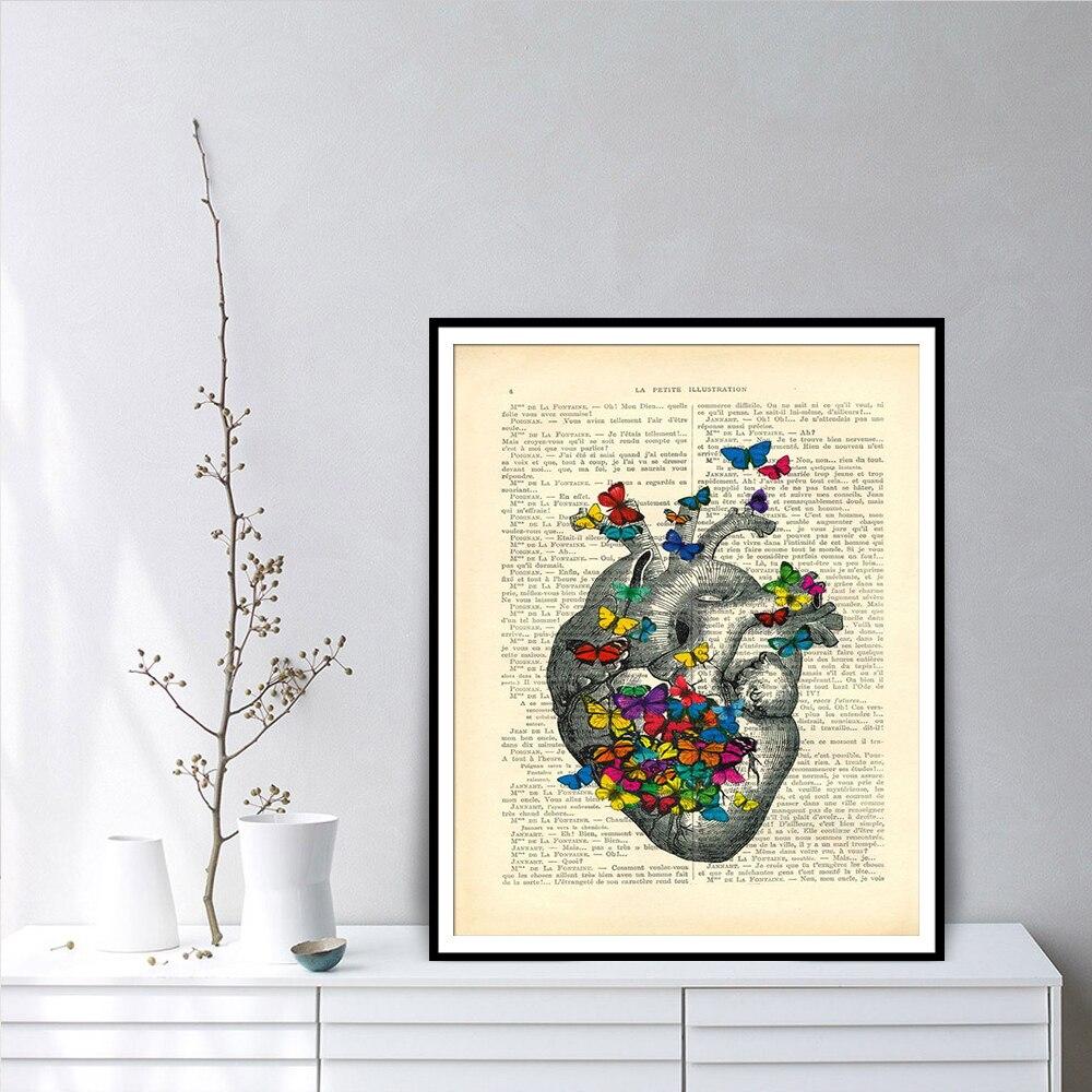 Corazón con mariposas coloridas diccionario arte imprimir carteles e impresiones decoración del hogar cuadro sobre lienzo para pared