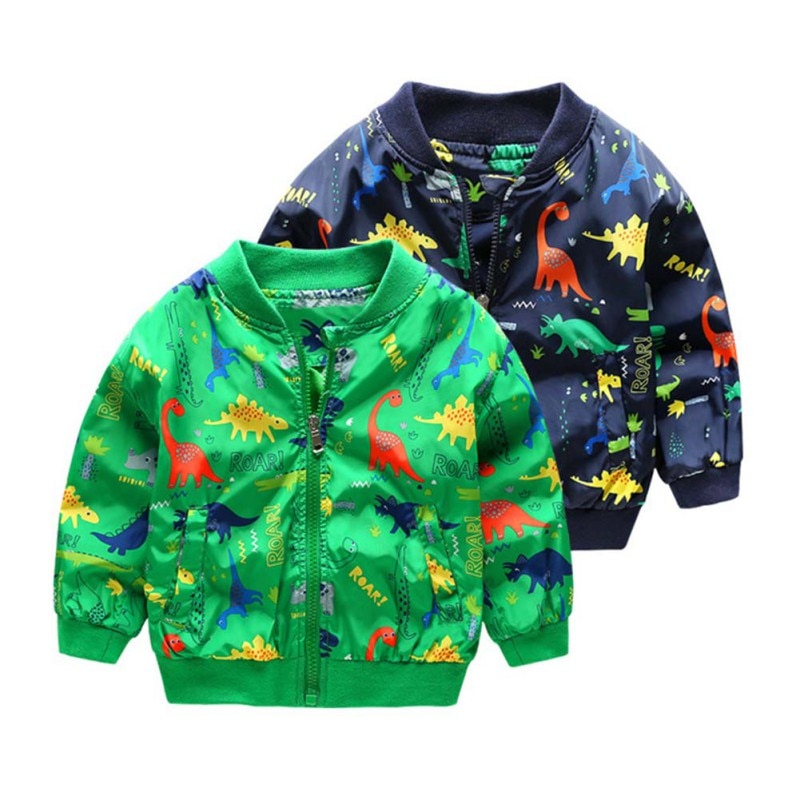 2019 New Autumn Toddler Girl Boy Cartoon Dinosaur Printing Coat Jackets Zipper Outfits with Pockets Jacket For Boys