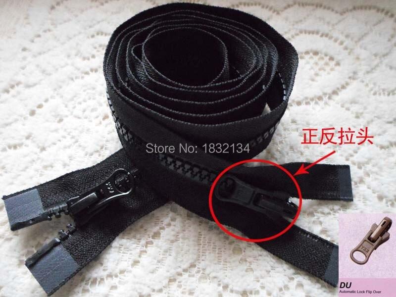 Ykk resina cremallera 60-120cm doble abierto positivo y negativo desgaste cremallera con solapa 5 # resina doble capa negro cremallera abierta