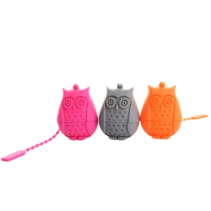 Funny Owl Infusor de té negro infusor colador de té filtro difusor Grado de silicona hoja suelta Herbal Spice Holder Tea Brewing Tool