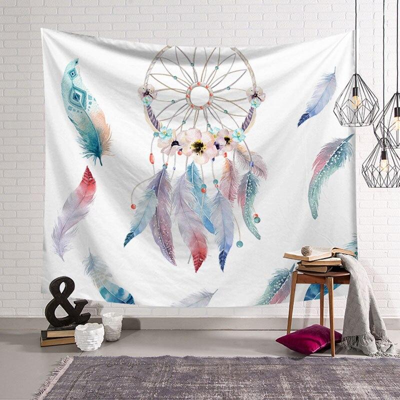 Rectangular de plumas de colores Toalla de playa atrapasueños tapiz Impresión de tela de poliéster decoración colgante de pared habitación