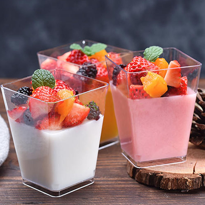 50 Uds 2oz/60ml Mini cuadrado postre taza cubo plástico muestra plato gelatina o pudin Cups fiesta cocina Accesorios