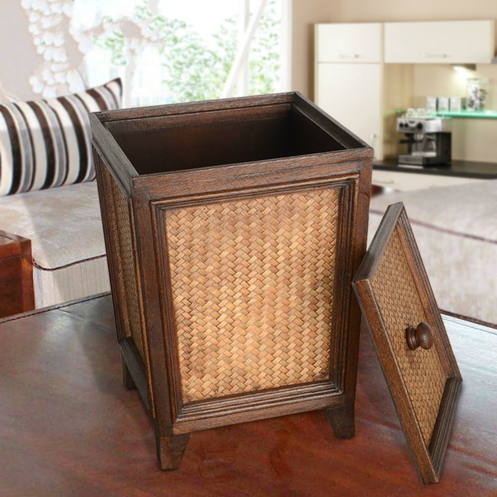 Thai retro rattan papier große mit deckel wohnzimmer küche hause kreative Chinesische holz mülleimer mit deckel LO116618