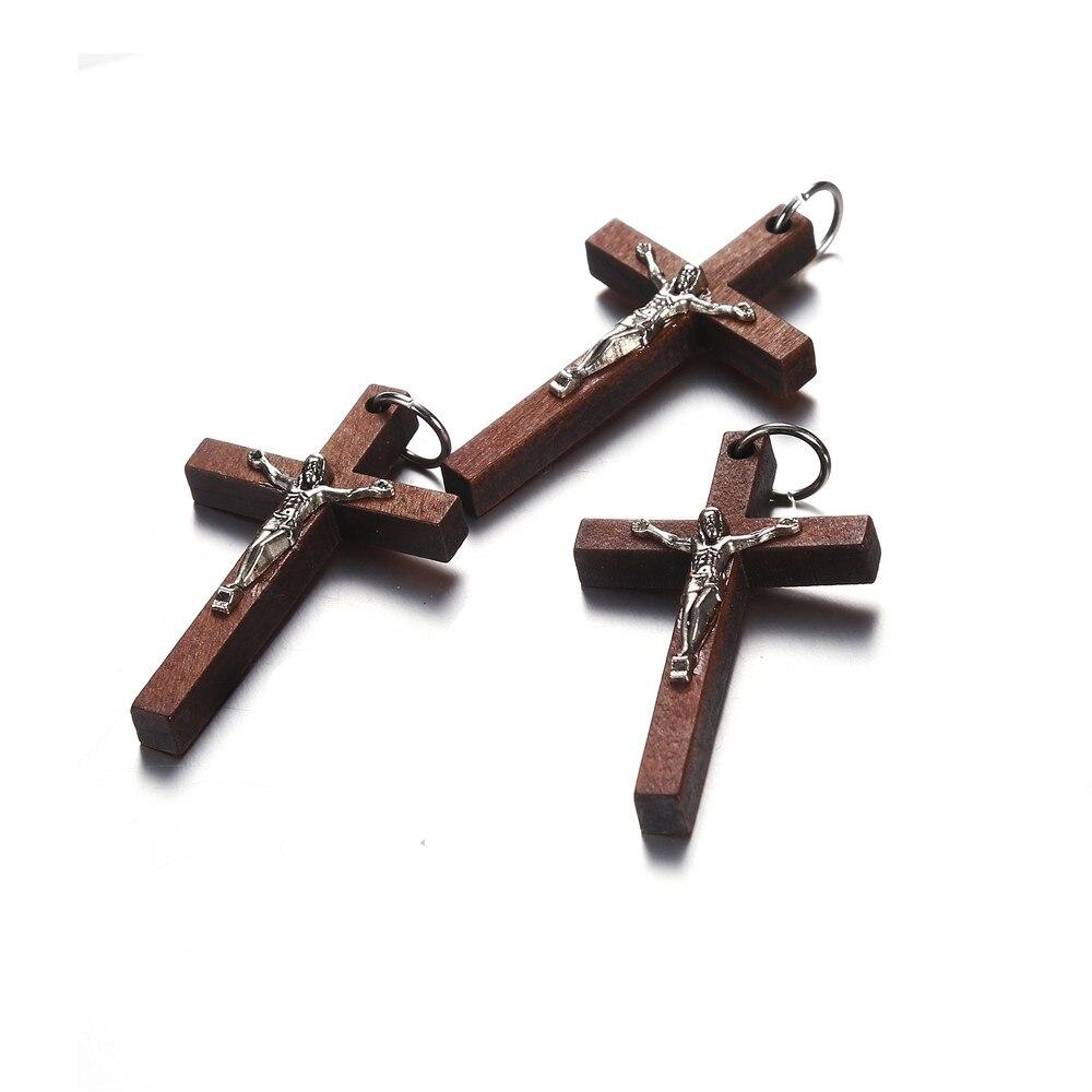 Lote de 20 unidades de 50x32mm, venta al por mayor, colgante Vintage de cruz cristiana catolica marrón, abalorios para joyería DIY, accesorios para fabricación