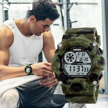 S SCHOCK Männer Sport Uhren SKMEI Luxus Marke Camouflage Military Uhren Digitale LED Wasserdicht Armbanduhren Relogio Masculino