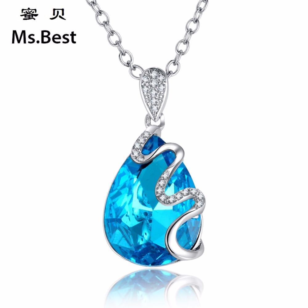 Colgantes de cristal azul gota para mujer, collares de declaración, accesorios bonitos para novia, boda, buena calidad, joyería de marca de diseñador 2018