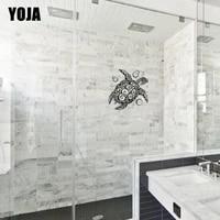 YOJA 30x27 9CM drole tortue maison Fecor autocollant mural salle de bain douche verre decalque G2-0159