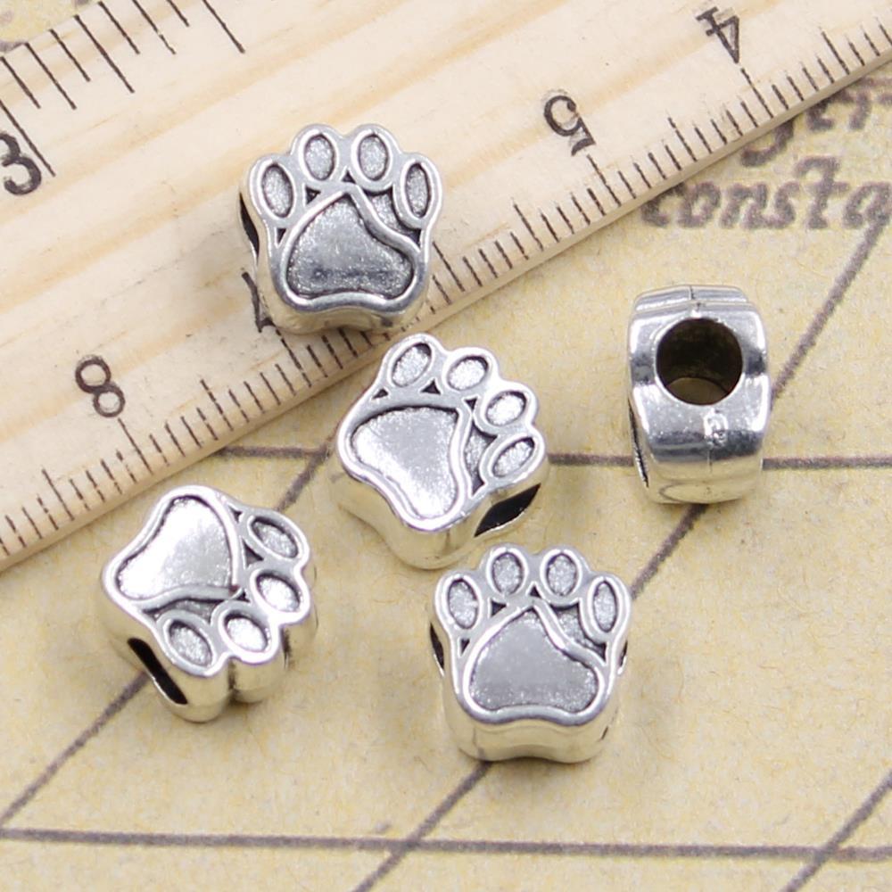 10 Uds. De abalorios con forma de pata de oso de perro de 5mm con agujero grande, colgante europeo para pulsera, DIY, Color plateado antiguo