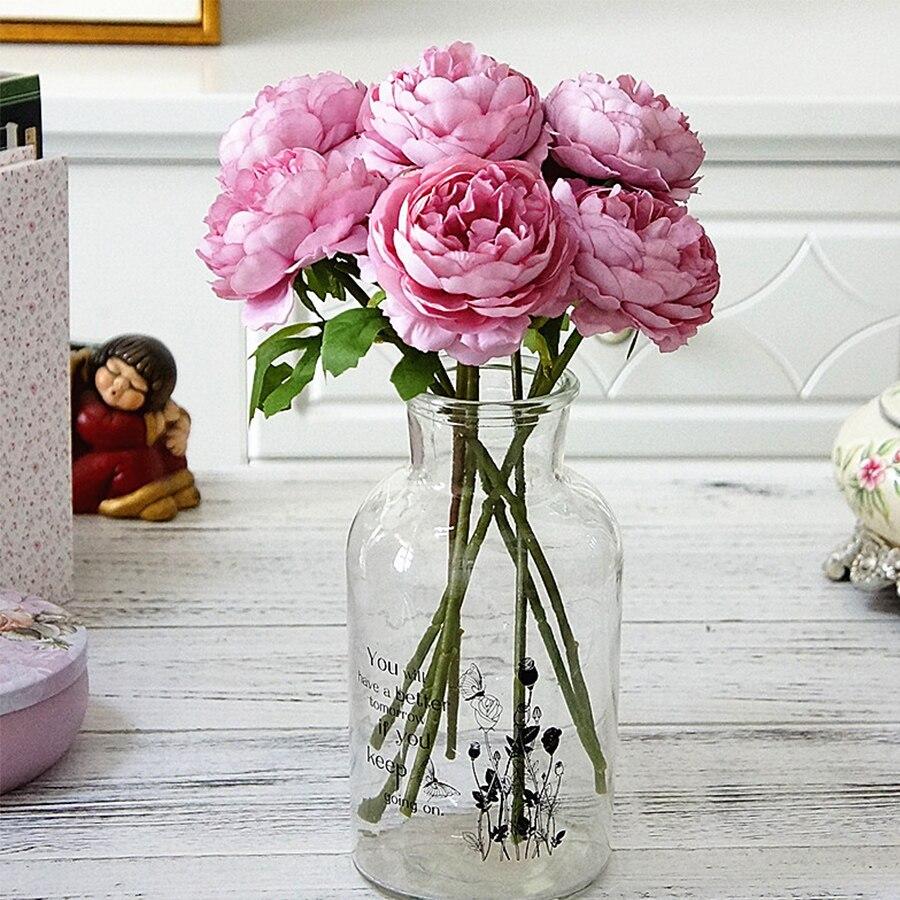 Rosas de seda flores artificiales blancas peonía para la decoración del hogar peonía Rosa flores falsas DIY boda decoración de pared flores de alta calidad