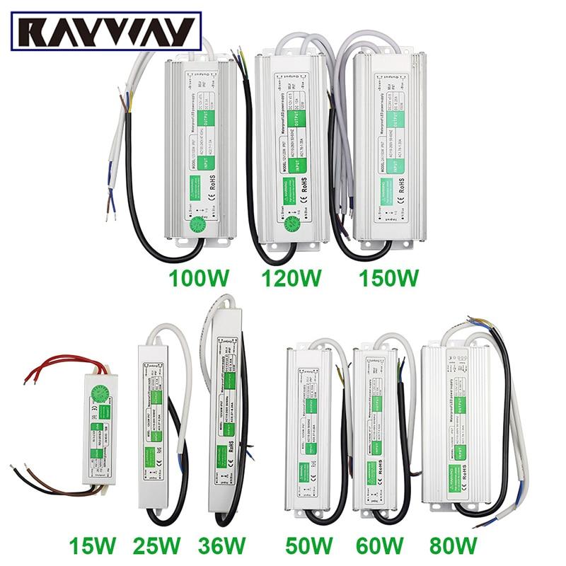 Adaptador de Controlador LED DC12V/24V Unidad de fuente de alimentación 15W 25W 50W 100W 150W Ip67 transformadores de iluminación impermeables para tira de LED