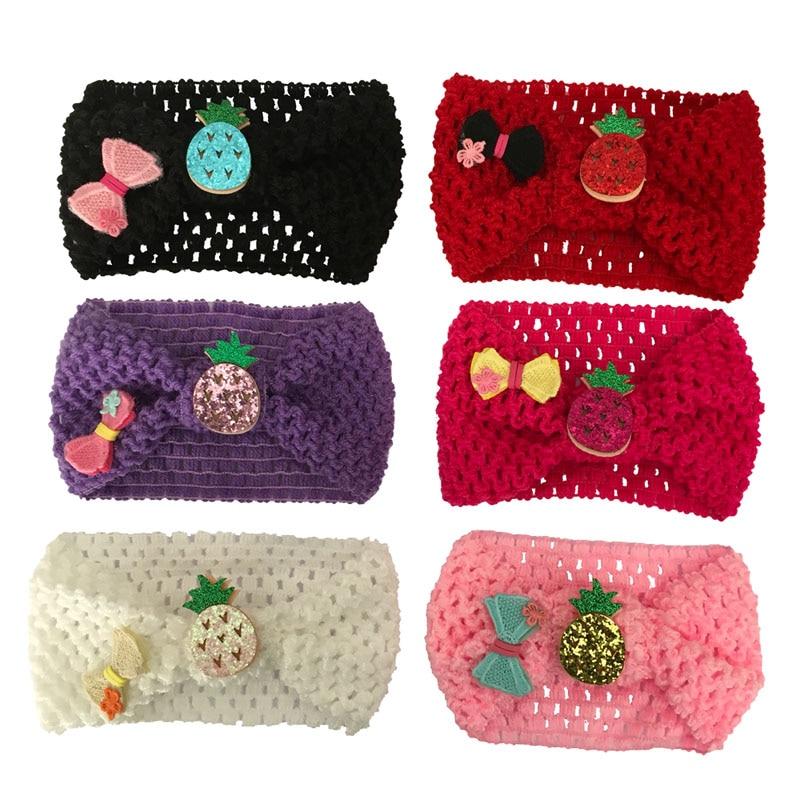 1 шт. вязаный крючком тюрбан для маленьких девочек повязка на голову с бантом для волос растягивающиеся повязки повязка на голову аксессуар...