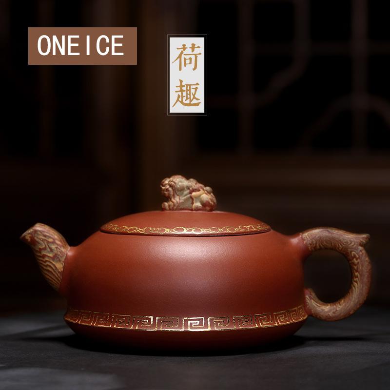 Contorno en oro jengibre Dutch Interest Pot tetera Yixing arcilla Purply té chino Kongfu Teaware 290ml