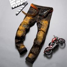 Haute qualité rétro hiver jean hommes or peinture jean enduit Slim Biker jean pantalon homme mâle pantalon Denim décontracté